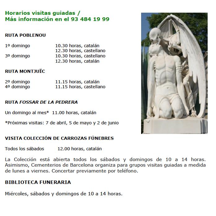 Horarios visitas guiadas Cementerios de Barcelona